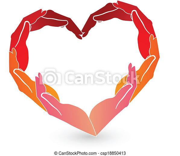 Hands red heart logo  - csp18850413