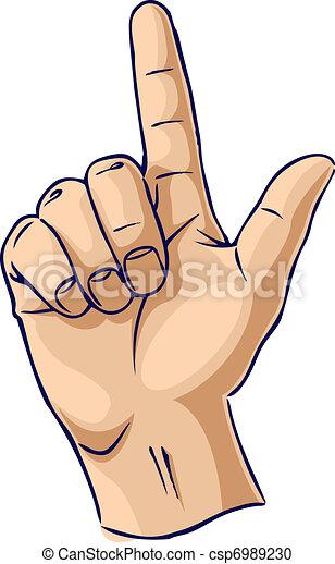 Hands showing one finger gesture - csp6989230