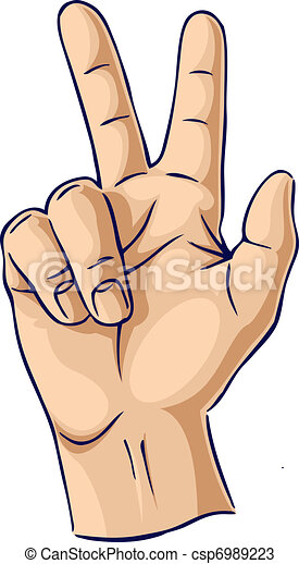Hands showing two finger gesture - csp6989223