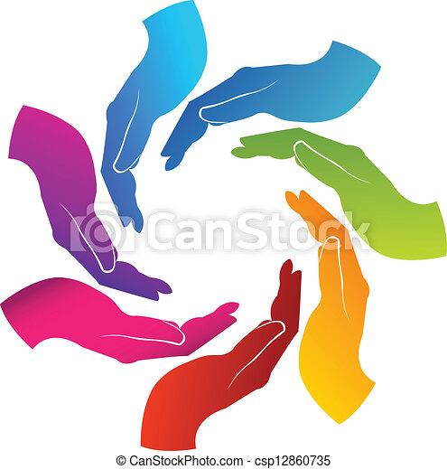 Hands teamwork logo - csp12860735
