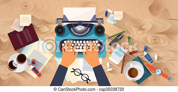 Hands Typing Text Writer Author Blog Typewrite Wooden Texture Desk Top Angle View - csp35038720