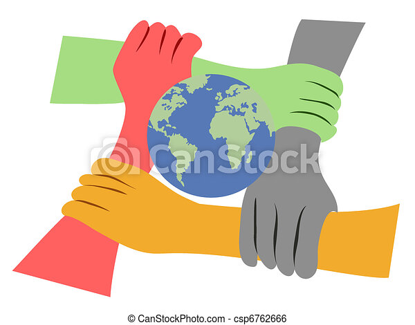 the concept of hands united the earth rh canstockphoto com Hand Outline Vector Reaching Hands Vector