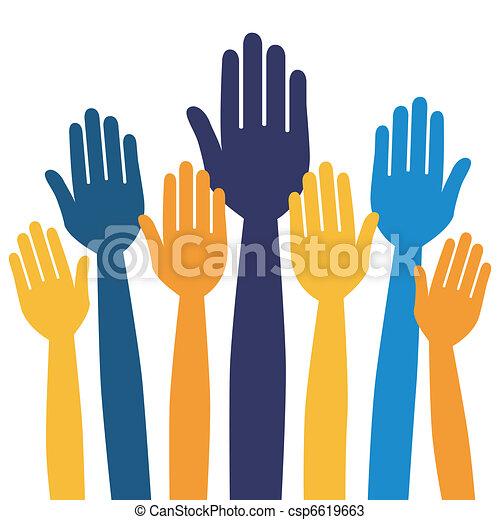 Hands volunteering or voting. - csp6619663