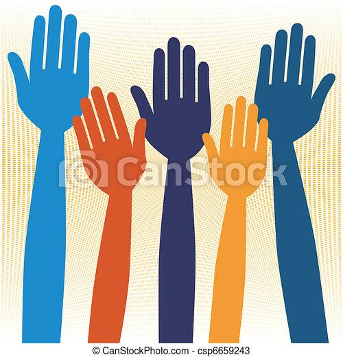 Hands volunteering or voting. - csp6659243