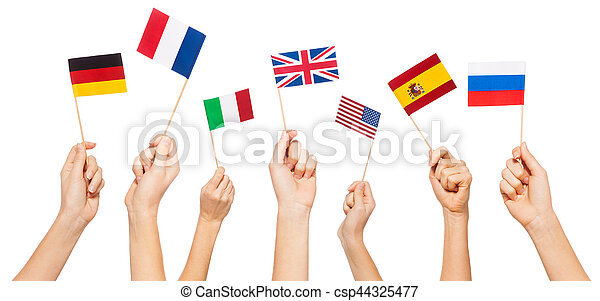 Hands waving flags of USA and EU member-states - csp44325477