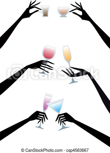 hands with drinks, vector - csp4563667