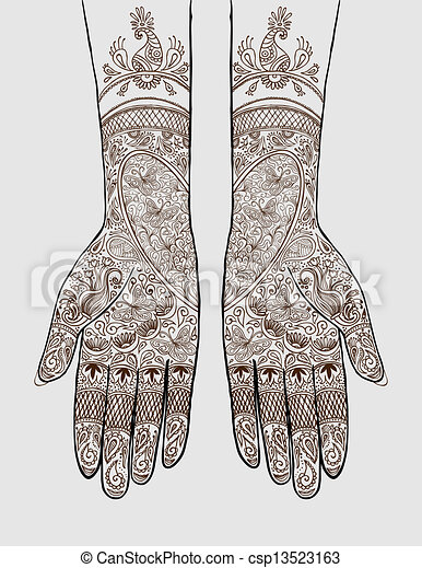 Hands With Henna Tattoo Vector Illustration Of Hands With Henna