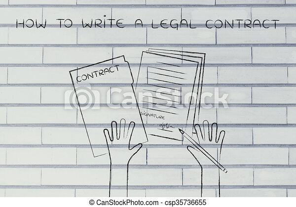 hands with pen and signed docs, how to write a legal contract - csp35736655