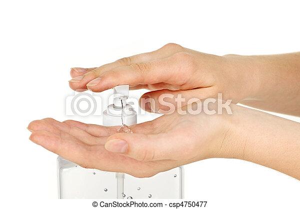 Hands with sanitizer gel - csp4750477