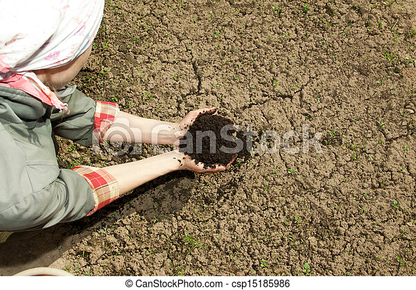 hands with soil - csp15185986