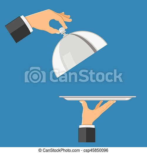 hands with tray and cover - csp45850096