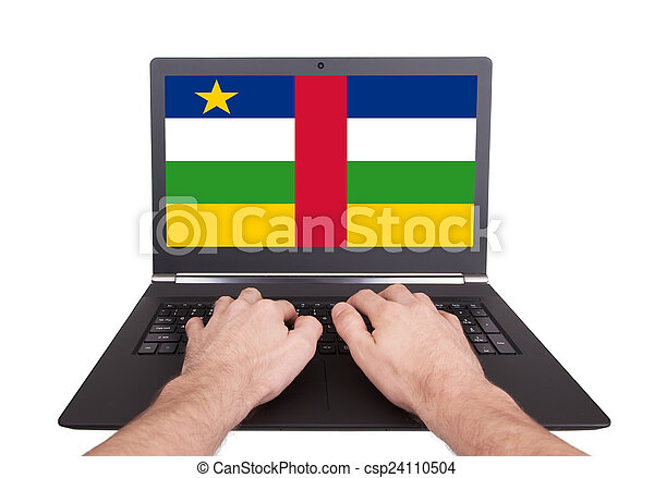Hands working on laptop, Central African Republic - csp24110504
