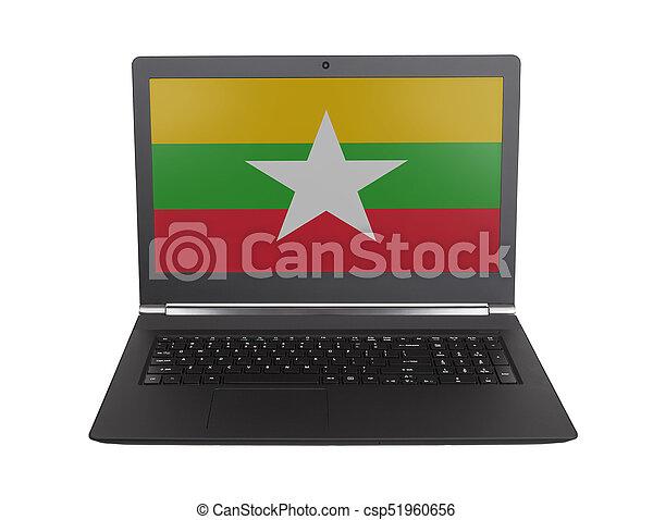 Hands working on laptop, Myanmar - csp51960656