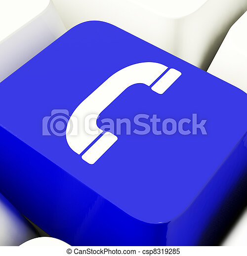 Handset Icon Computer Key In Blue For Helpdesk Or Assistance - csp8319285