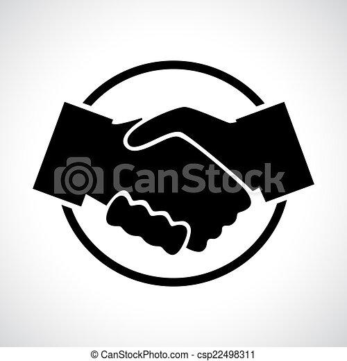 Handshake. Black flat icon in a circle. - csp22498311