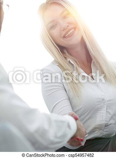 handshake business people in the office - csp54957482