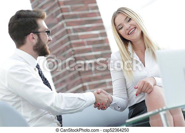 handshake business people in the office - csp52364250