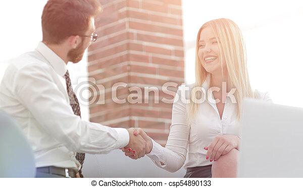 handshake business people in the office - csp54890133