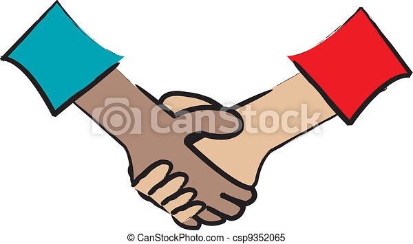 handshake simple cartoon drawing of two multicultural clipart rh canstockphoto com handshake vector icon handshake vector icon free download