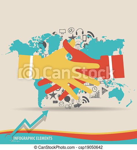 Handshake hands with application and world map vector illustration gumiabroncs Images