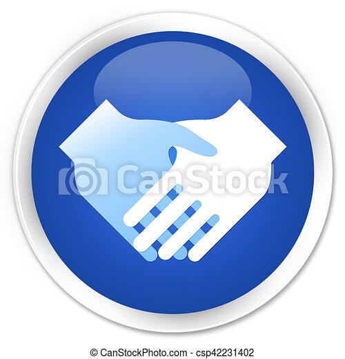 Handshake icon blue glossy round button - csp42231402