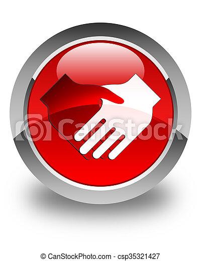 Handshake icon glossy red round button - csp35321427