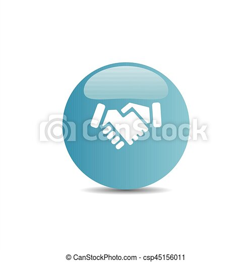 Handshake icon on a blue button - csp45156011