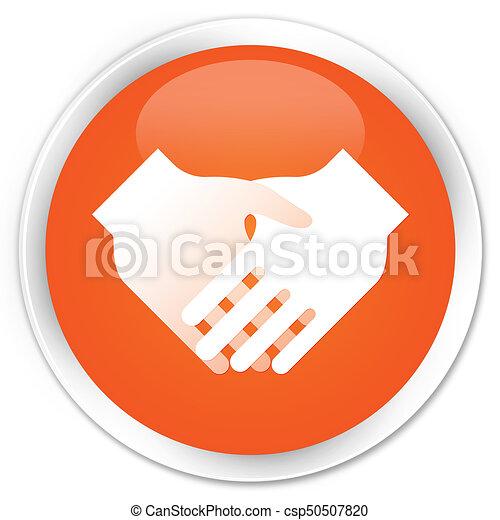 Handshake icon premium orange round button - csp50507820