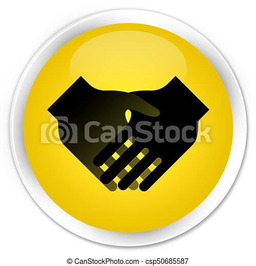 Handshake icon premium yellow round button - csp50685587