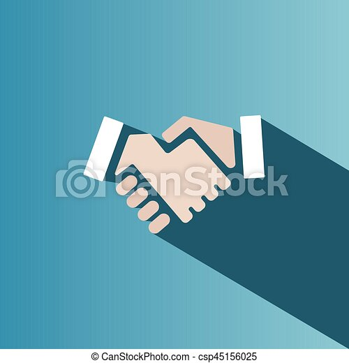 Handshake icon with shadow on a blue background - csp45156025