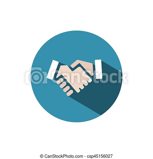 Handshake icon with shadow on a blue circle - csp45156027