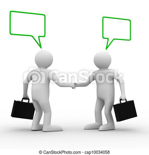 handshake., imagem, dois, isolado, businessmen., reunião, 3d - csp10034058