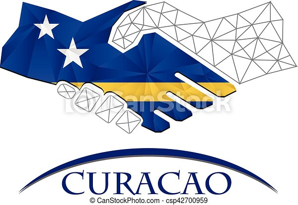 Handshake logo made from the flag of Curacao. - csp42700959