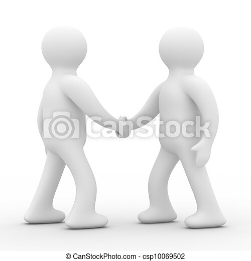 Handshake. Meeting two businessmen. Isolated 3D image - csp10069502