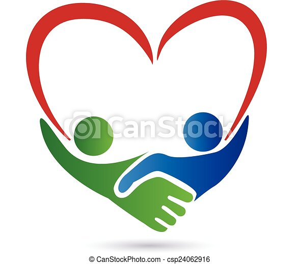 Handshake people with heart logo - csp24062916