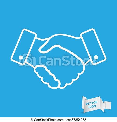 handshake thin line design icon - vector illustration - csp57854358