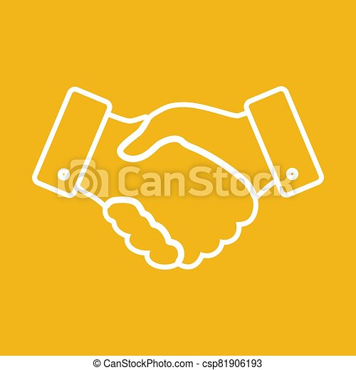 handshake thin line design icon - vector illustration - csp81906193