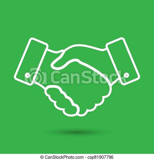 handshake thin line design icon - vector illustration - csp81907796