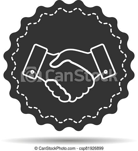 handshake thin line design icon - vector illustration - csp81926899