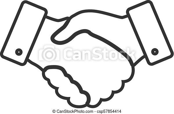 handshake thin line design icon - vector illustration - csp57854414