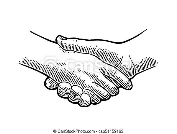 Handshake Vector Black Vintage Engraving Illustration Isolated On A