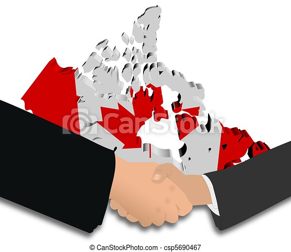 Canada Map Flag.Handshake With Canada Map Flag People Shaking Hands With Canada Map