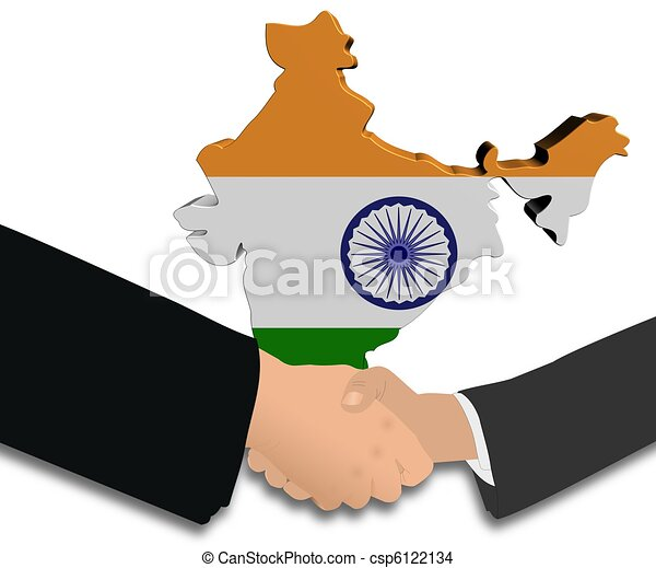 India Map Flag.Handshake With India Map Flag People Shaking Hands With India Map
