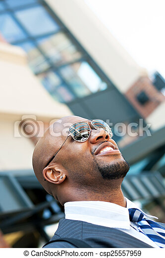 Handsome African American Business Man In the City - csp25557959