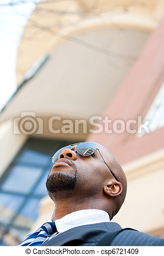 Handsome African American Business Man In the City - csp6721409