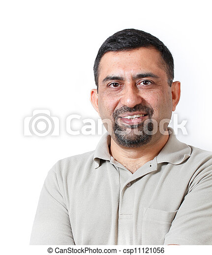 Handsome and happy middle aged mature indian adult business man looking with satisfaction and happiness. The person is wearing t-shirt and photo is shot in studio with white background - csp11121056