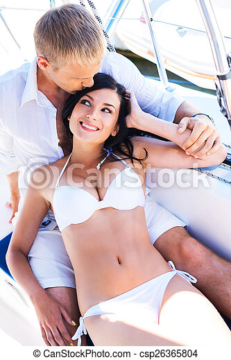 96f46d436c Handsome and rich man and a beautiful and sexy woman in swimsuit -  csp26365804