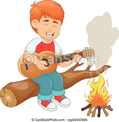 Vector Illustration Of Handsome Boy Cartoon Playing Guitar With Sing Canstock