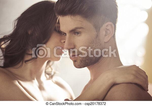 Handsome brunet with his wife - csp20178372