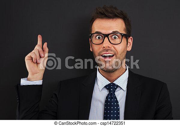 Handsome businessman have unexpected idea  - csp14722351